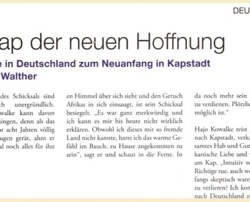 A Snapshot of a german article on Hajo and Township tours